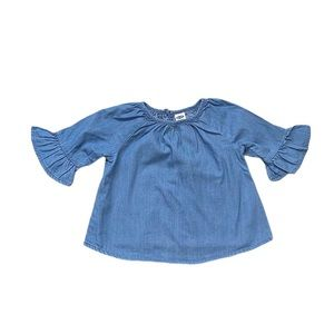 Old Navy chambray peplum sleeve top 6-12 months